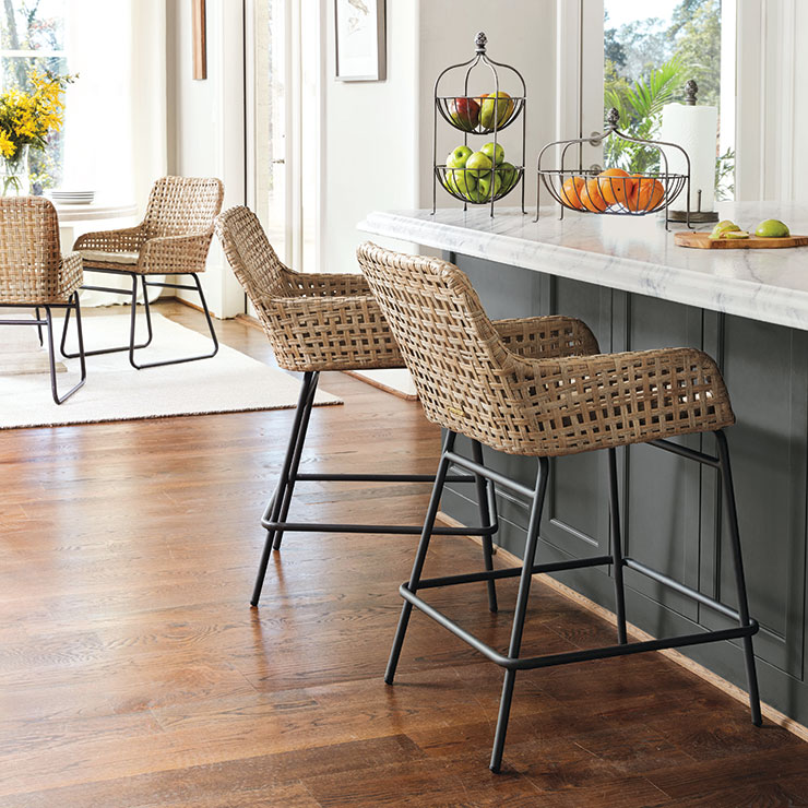 Bar stool height best fitting woven counter stools in dining room | Ballard Designs