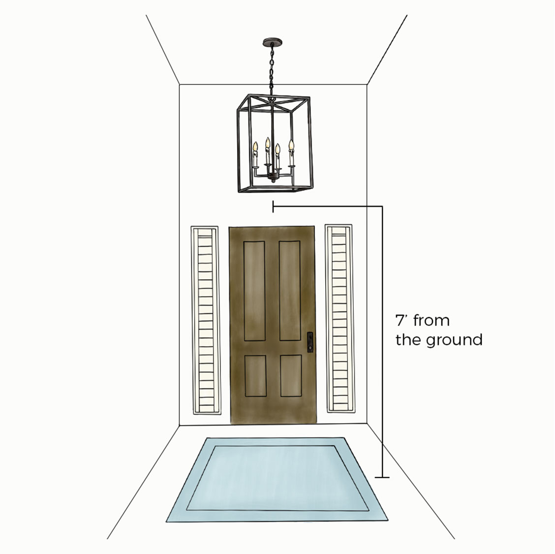 Infographic showing how high to hang chandelier in entryway | Ballard Designs