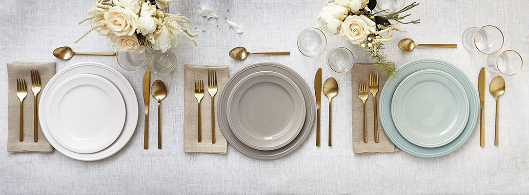How to set a table with simple dinner plates, gold flatware, and glasses | Ballard Designs