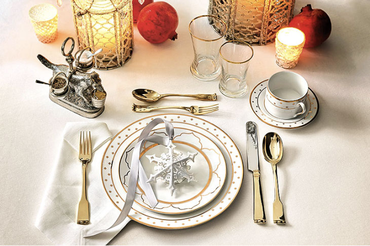 Example of how to set a table using Bunny Williams' Gold Star Dinnerware | Ballard Designs