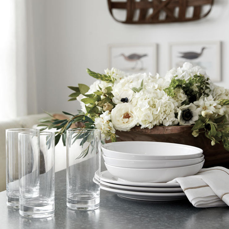 Stack of bowls and glassware ready to set the table | Ballard Designs