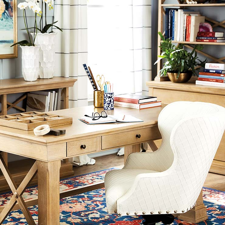 Home office desk with upholstered desk chair | Ballard Designs