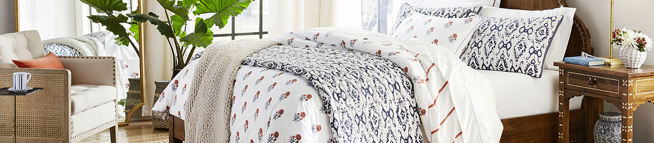 Block print home furniture in Ballard Designs grouping image