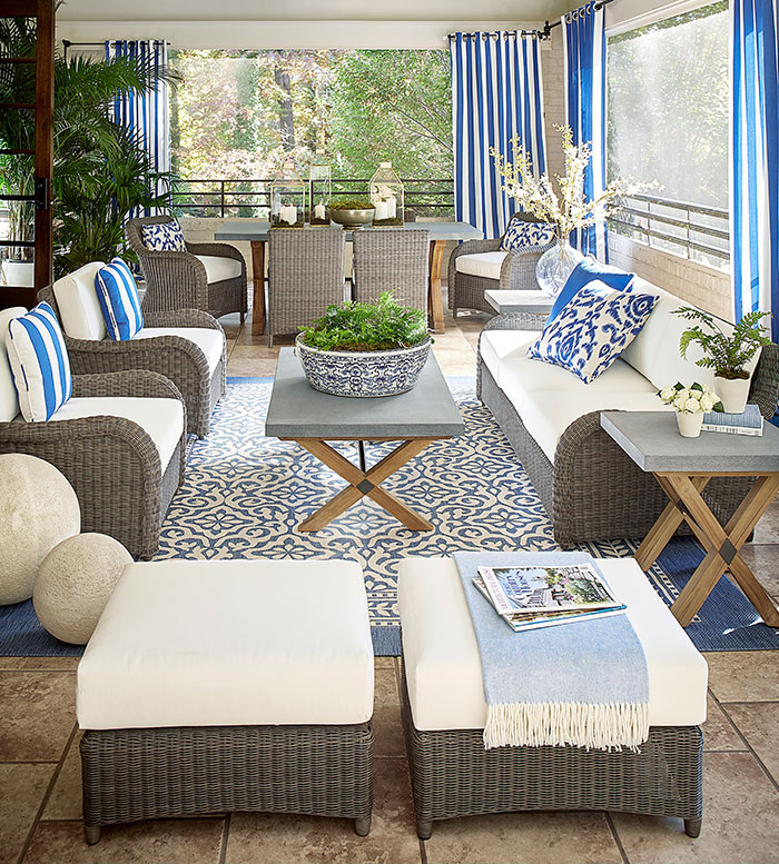 Suzanne Kasler Outdoor patio furniture and accessories  cozy group seating | Ballard Designs